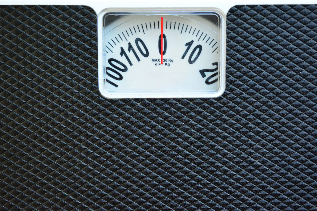 Black weight scale.